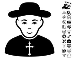 Christian Priest Icon With Air Drone Tools Bonus Stock Illustration