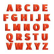 Red 3d letters vector alphabet, lettering Stock Illustration
