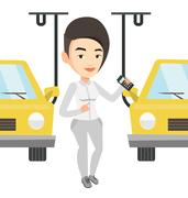 Worker controlling automated assembly line for car Stock Illustration