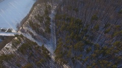 Drone falling down at winter forest because of radio interference Stock Footage