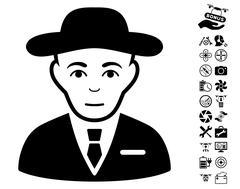 Secret Service Agent Icon With Copter Tools Bonus Stock Illustration