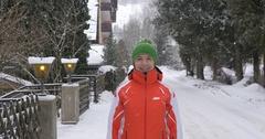 Winter happy mood in snowfall Stock Footage