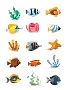 Vector cartoon aquarium decor objects, underwater assets for mobile phone game Piirros