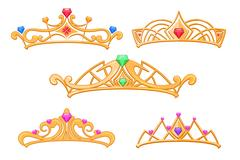 Vector princess crowns, tiaras with gems cartoon set Stock Illustration