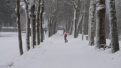 Joyful girl in winter park Stock Footage
