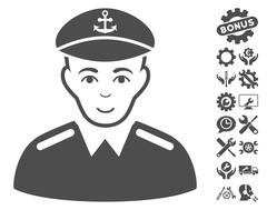 Captain Vector Icon With Tools Bonus Stock Illustration