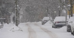 Snow-covered country town out of focus Stock Footage