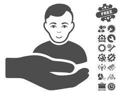 Customer Support Hand Vector Icon With Tools Bonus Stock Illustration