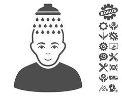 Head Shower Vector Icon With Tools Bonus Piirros