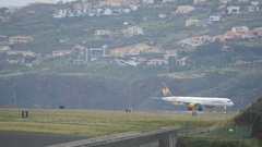 4K Amazing Madeira Airport Scenario with Airplane Boeing B757 Parked Stock Footage