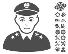 Military Captain Vector Icon With Tools Bonus Stock Illustration