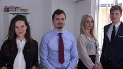 Young business team executive male leader step forward confident trustful people Stock Footage