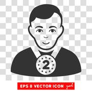 2nd Prizer Sportsman Vector EPS Icon Stock Illustration
