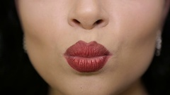 Female lips close up Stock Footage