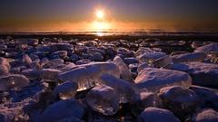 Frozen lake in Otsu, Hokkaido, Japan Stock Footage
