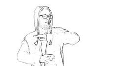 Outlined self-confident man in hoodie dancing on trap hip-hop music Stock Footage