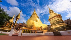 Wat Phra Singh Temple Landmark Destination Religion Place Of Chiang Mai,Thailand Stock Footage