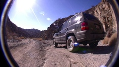 Joshua Tree Desert Park - Jeep in Canyon  Stock Footage