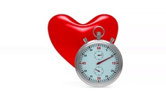 Heart and stop watch on white background. Isolated 3D image Stock Footage