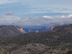4K Cine looking towards Sedona Arizona overcast time lapse tight Stock Footage