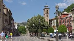 Cinemagraph Granada Spain people on Plaza Nueva Stock Footage