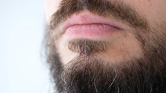 Macro of bearded man showing his thick beard Stock Footage