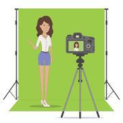 Studio blog recording. Stock Illustration