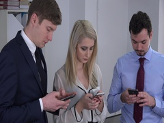 Busy business team inside office men businesswoman sending email on smart phone Stock Footage