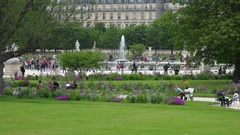 Cinemagraph Paris France people fountains in Tuileries Garden. Stock Footage