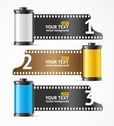 Camera Film Roll Cartrige Banner Card. Vector Stock Illustration