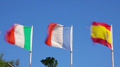 Cinrmagraph, national flags of Italy France and Spain fluttering on the wind. Stock Footage