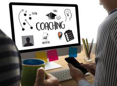 COACHING  Training Planning Learning Coaching Business Guide Instructor Leade Stock Photos
