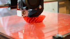 The print 3D printer Bright red model closeup Stock Footage
