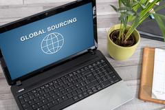 Global sourcing concept on a laptop Stock Photos