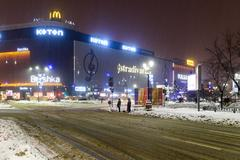 Winter Snow Storm In Bucharest City At Night Stock Photos