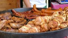 Grilled meat. Food market. Street food. Fast food Stock Footage