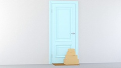 Carton box on the floor of entry of the house Stock Footage