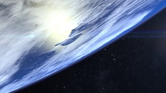 Earth. Flight over the Earth. 4K. The camera flies to the right Stock Footage