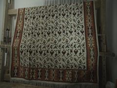 Authentic Bulgarian rug on a wooden loom Stock Footage