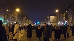 PARIS, FRANCE - DECEMBER, 31, 2016. People walk on Champs-Elysees street on New Stock Footage