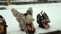 Kukeri Bulgarian mummers' masks Stock Footage