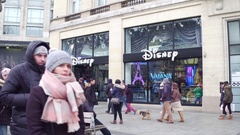 PARIS, FRANCE - DECEMBER, 31, 2016. Steadicam shot of Disney store on famous Arkistovideo