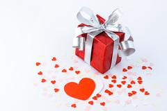 Valentines Day and gift box and Paper Heart Shape Stock Photos