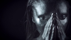 4K Horror Woman with Silver Metallic Make-up, dolly face Stock Footage