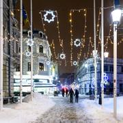 Downtown Bucharest City At Night During Strong Blizzard Snow Storm Stock Photos