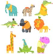 African Animals With Human Attributes And Clothing Set Of Comic Cartoon Stock Illustration
