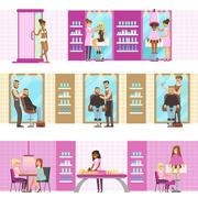 People In Beauty Salon Enjoying Hair And Skincare Treatments And Cosmetic Stock Illustration