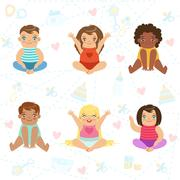Adorable Big-Eyed Babies Sitting And Smiling, Set Of Cartoon Happy Infant Piirros