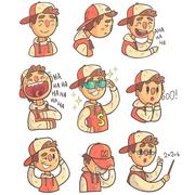 Boy In Cap And College Jacket Collection Of Hand Drawn Emoji Cool Outlined Stock Illustration