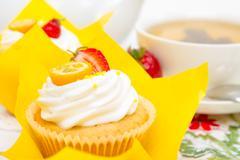 A delicious fruity cupcakes for morning tea Stock Photos